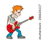 funny cartoon rock musician...   Shutterstock .eps vector #206626117