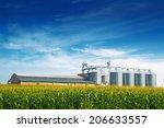 grain silos in corn field. set... | Shutterstock . vector #206633557
