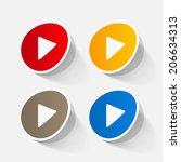 paper sticker  play button web... | Shutterstock . vector #206634313