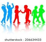 dancing children silhouettes | Shutterstock .eps vector #206634433