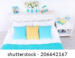 comfortable soft bed in room | Shutterstock . vector #206642167