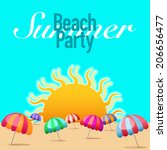 beach party poster background... | Shutterstock .eps vector #206656477