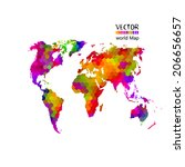 bright colored map of the world ... | Shutterstock .eps vector #206656657
