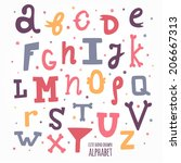 multicolor hand drawn alphabet. ...