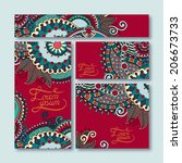 collection of decorative floral ... | Shutterstock . vector #206673733