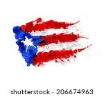 flag of  puerto rico made of... | Shutterstock . vector #206674963