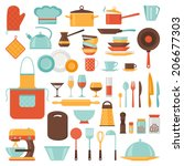 kitchen and restaurant icon set ... | Shutterstock .eps vector #206677303
