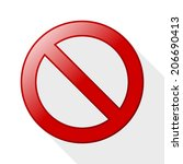 no sign with long shadow on... | Shutterstock .eps vector #206690413