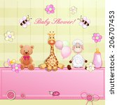 baby shower card with toys.  | Shutterstock .eps vector #206707453