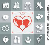 set of wedding flat icons and... | Shutterstock . vector #206732857