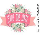elegant floral save the date... | Shutterstock .eps vector #206742283