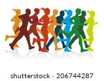 colorful silhouettes of a group ... | Shutterstock . vector #206744287