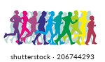 colorful silhouettes of a group ... | Shutterstock . vector #206744293