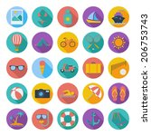 summer flat color icons. vector ... | Shutterstock .eps vector #206753743