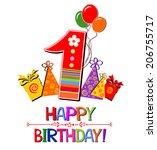happy first birthday.... | Shutterstock .eps vector #206755717