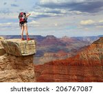 Woman Mountain Hiker With...
