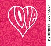 love heart on seamless paisley... | Shutterstock .eps vector #206773987