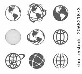 globe earth icons set on white... | Shutterstock .eps vector #206821873
