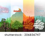four seasons banners with trees ... | Shutterstock .eps vector #206836747