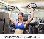 fit happy brunette using... | Shutterstock . vector #206850313