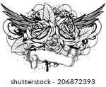 vector illustration roses wings ... | Shutterstock .eps vector #206872393