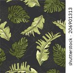 seamless leaves print pattern... | Shutterstock .eps vector #206901313