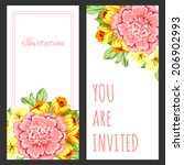 set of invitations with floral... | Shutterstock . vector #206902993