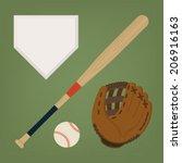 Vector Set Of Baseball Items...
