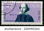 Small photo of GDR -CIRCA 1980: A stamp printed in GDR (East Germany) shows William Shakespeare, series, circa 1980