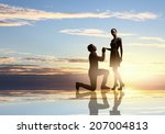 silhouettes of man making... | Shutterstock . vector #207004813