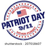 patriot day stamp | Shutterstock .eps vector #207018607