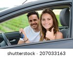 happy and cheerful young couple ... | Shutterstock . vector #207033163