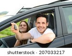 happy and cheerful young couple ... | Shutterstock . vector #207033217