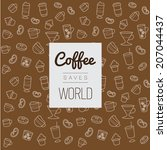 icons set pattern  coffee saved ...   Shutterstock .eps vector #207044437