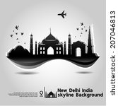 New Delhi, India,skyline background,vector Illustration - stock vector