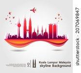 Kuala Lumpur, Malaysia, skyline background, vector Illustration - stock vector