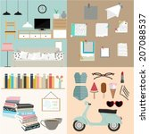 set of flat vintage design... | Shutterstock .eps vector #207088537