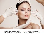 beautiful  woman before plastic ... | Shutterstock . vector #207094993
