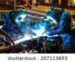 worker with protective mask... | Shutterstock . vector #207113893
