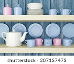 white ceramic kitchenware on... | Shutterstock . vector #207137473