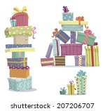 piles of presents. doodle heaps ... | Shutterstock .eps vector #207206707