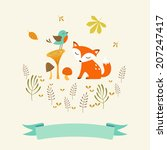 cute autumn illustration with...   Shutterstock .eps vector #207247417