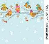 winter background with cute...   Shutterstock .eps vector #207247423