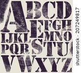 grunge scratch type font ... | Shutterstock .eps vector #207249817