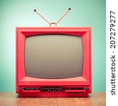 retro red old television from... | Shutterstock . vector #207279277