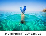 Women Snorkeling In Clear Wate...