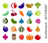 fruits  berries and vegetables... | Shutterstock .eps vector #207358387