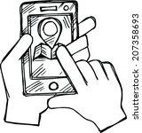 doodle smartphone with maps  | Shutterstock .eps vector #207358693