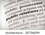 "Selective focus on the words ""public relations"". Many more word photos in my portfolio... - stock photo"