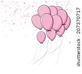 Vector Pink Balloon On White...